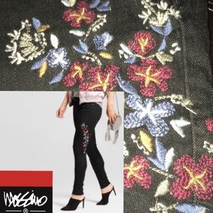 Sz18🆕Floral👖Embroidered Skinny Mid-Rise Jeans